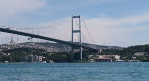 Asian Part of Bosphorus Bridge and Strait, as seen from Ortakoy Mosque in Istanbul, Turkey Stock Images