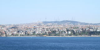 Asian part of Istanbul. City behind Bosporus Strait separating two continents Europe and Asia, Turkey Royalty Free Stock Photography