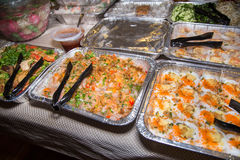 Asian party foods. Asian cuisine  with a lot of different variaies  of party foods Royalty Free Stock Photo