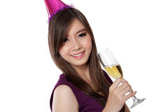 Asian party girl smile, on white Royalty Free Stock Images