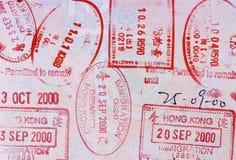 Asian passport page, various passport stamps Stock Image