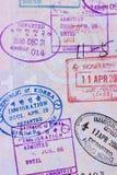 Asian passport page, various passport stamps Stock Images