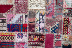 Asian patchwork carpet in Istanbul, Turkey Royalty Free Stock Photo