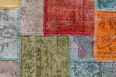 Asian patchwork carpet in Istanbul, Turkey. Stock Photos