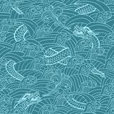 Asian pattern with dragon background. Vector illustration Stock Illustration