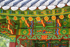 Asian patterns on construction in Kiev botanical garden Stock Photo