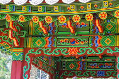 Asian patterns on construction in Kiev botanical garden Stock Photography
