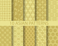 Asian patterns. 10 different chinese asian, Swatches, vector, Endless texture can be used for wallpaper, pattern fills, web page,background,surface stock illustration