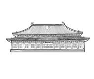 Asian pavilion buidling. House in asian China style. Chinese arc Royalty Free Stock Images
