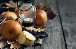 Asian pears, lantern and fall leaves background Stock Images