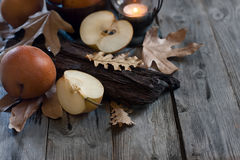 Asian pears, lantern and fall leaves Royalty Free Stock Photography