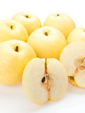 Asian pears sliced open Royalty Free Stock Images