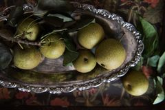 Asian Pears on Tarnished Pewter Platter stock images