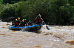 asian people in action at rafting adventure Stock Photos