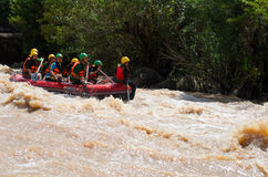 Asian people in action at rafting adventure Royalty Free Stock Photo