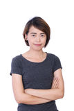 Asian People: Beautiful smart young lady on white background Royalty Free Stock Image