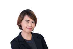 Asian People: Beautiful smart young lady on white background Royalty Free Stock Photo