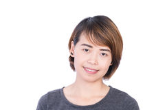 Asian People: Beautiful smart young lady on white background Royalty Free Stock Images