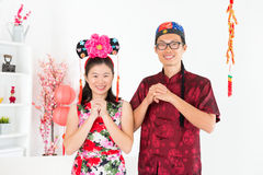 Asian people blessing during Chinese New Day Stock Photos