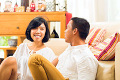 Asian people couple in living room Royalty Free Stock Images