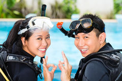 Teacher and student in a diving school Stock Images
