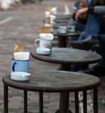 Asian people drinking coffee on the sidewalk Stock Photography
