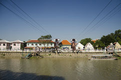 Asian people and foreign traveler use cable car across chao phraya river Royalty Free Stock Image