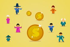 Asian People Group In Traditional Clothes With Dollar Coins Financial Business Success Concept. Flat Vector Illustration Stock Photo