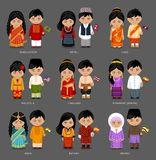 Asian people in national dress. vector illustration