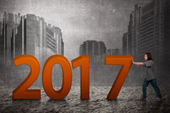Asian people push 2017 number Stock Images