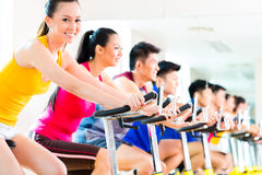 Asian people in spinning bike training at fitness gym. Chinese Asian sport group of men and women in fitness club or gym exercising on spinning bikes stock photos