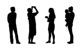 Asian people standing outdoor silhouettes set 2 Royalty Free Stock Image