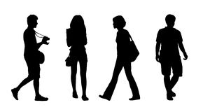 Asian people walking outdoor silhouettes set 4 Stock Photography