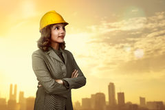 Asian people wearing yellow helmet Royalty Free Stock Photography