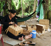 Asian people work inside coir mat workshop Royalty Free Stock Image