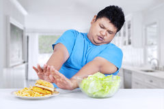 Asian person avoid fast food Stock Photos