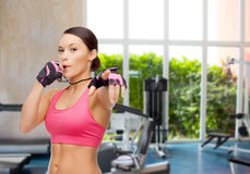 Asian personal trainer with whistle Royalty Free Stock Photography
