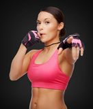 Asian personal trainer with whistle Royalty Free Stock Image