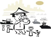 Asian photographer cartoon. Cartoon of Asian man using camera to take pictures of harbor and boats Royalty Free Stock Photography