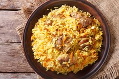 Asian pilaf on a brown plate closeup. horizontal top view Royalty Free Stock Images