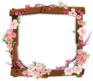 Asian Pink Japanese Sakura on Wooden Frame Royalty Free Stock Photo