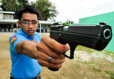 Asian police shooting practice Royalty Free Stock Images