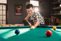 Asian pool player Royalty Free Stock Image