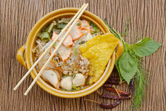 Asian pork noodle in the bowl Stock Photo