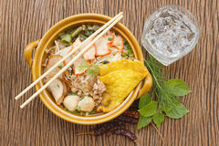 Asian pork noodle in the bowl Royalty Free Stock Photos