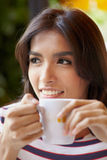 Asian portrait with coffee b Stock Images