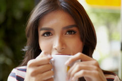 Asian portrait with coffee c Stock Image