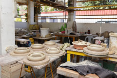 Asian pottery production floor Royalty Free Stock Photos
