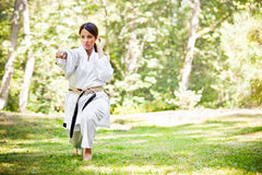 Asian practicing karate Stock Image