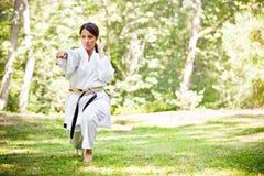 Asian practicing karate Stock Image
